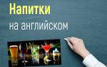 Напитки на английском языке (чай, кофе, пиво, вино, соки, коктейли и другие)