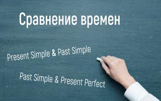 Сравнение времен с таблицами и примерами
