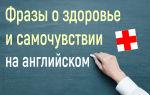Полезные фразы о здоровье и самочувствии на английском